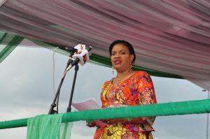 Mrs. Dayo Keshi, Director General, National Council for Arts and Culture and Festival Director delivering her Welcome Address at the Official Opening Ceremony of NAFEST 2016 held on Tuesday 4th October, 2016 at Uyo Township Stadium, Akwa Ibom State